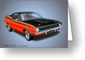 Barracuda Greeting Cards - 1970 CUDA AAR  classic Barracuda vintage Plymouth muscle car art sketch rendering         Greeting Card by John Samsen