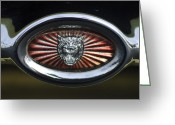 Jaguar E Type Greeting Cards - 1970 Jaguar XK Type-E Grille Emblem Greeting Card by Jill Reger