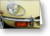 Jaguar E Type Greeting Cards - 1970 Jaguar XK Type-E Headlight Greeting Card by Jill Reger