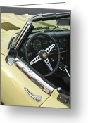 Jaguar E Type Greeting Cards - 1970 Jaguar XK Type-E Steering Wheel Greeting Card by Jill Reger