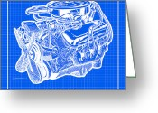 Big Block Chevy Greeting Cards - 1970 LS5 454 Big-Block Corvette Engine Reverse Blueprint Greeting Card by K Scott Teeters