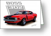 Mustang Greeting Cards - 1970 Mustang Boss 302 Red Greeting Card by David Kyte
