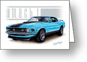 1970 Greeting Cards - 1970 Mustang Mach 1 Blue Greeting Card by David Kyte