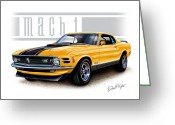 1970 Greeting Cards - 1970 Mustang Mach 1 in Yellow Greeting Card by David Kyte