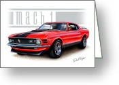 David Kyte Greeting Cards - 1970 Mustang Mach 1 Red Greeting Card by David Kyte
