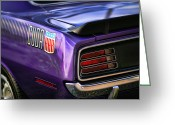 Carlisle Greeting Cards - 1970 Plymouth AAR Cuda Plum Crazy Purple Greeting Card by Gordon Dean II