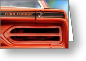 1970 Greeting Cards - 1970 Plymouth Road Runner - Vitamin C Orange Greeting Card by Gordon Dean II