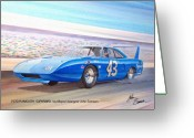 Runner Greeting Cards - 1970 SUPERBIRD Petty NASCAR racecar muscle car sketch rendering Greeting Card by John Samsen