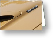 Barracuda Greeting Cards - 1971 Plymouth Barracuda Convertible 318 CI Hood Emblem Greeting Card by Jill Reger