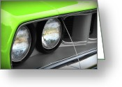 Barracuda Greeting Cards - 1971 Plymouth Barracuda Cuda Sublime Green Greeting Card by Gordon Dean II