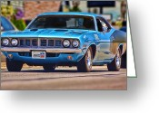 Drag Greeting Cards - 1971 Plymouth Cuda 383 Greeting Card by Gordon Dean II