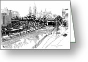 Ontario Mixed Media Greeting Cards - 1971 Rideau Canal Ottawa Greeting Card by John Cullen