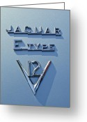 Jaguar E Type Greeting Cards - 1972 Jaguar E-Type V12 Roadster Emblem Greeting Card by Jill Reger
