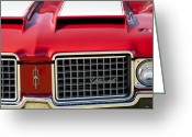 Muscle Photo Greeting Cards - 1972 Oldsmobile Grille Greeting Card by Jill Reger