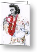 Elvis Presley Greeting Cards - 1973 Aloha Bald Headed Eagle Suit Greeting Card by Rob De Vries