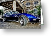 Mako Shark Greeting Cards - 1973 Corvette Stingray Fantasy Car Greeting Card by Paul Ward