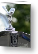 Chrome Grill Greeting Cards - 1976 Rolls Royce Hood Ornament Greeting Card by Paul Ward