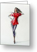 Long Gloves Greeting Cards - 1980s Female Fashion Model In Red Greeting Card by Sharon Barner