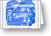 Corvette Gift Drawings Greeting Cards - 1985 - 1991 L98 Fuel-Injected Corvette Engine Blueprint Greeting Card by K Scott Teeters