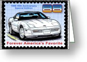 Corvette Gift Drawings Greeting Cards - 1988 35th Anniversary Special Edtion Corvette Greeting Card by K Scott Teeters