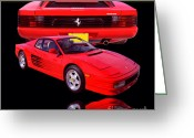 Race Car Photo Greeting Cards - 1990 Ferrari Testarossa Greeting Card by Jim Carrell