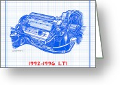 Corvette Gift Drawings Greeting Cards - 1992-1996 LT1 Corvette Engine Blueprint Greeting Card by K Scott Teeters