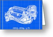 Corvette Gift Drawings Greeting Cards - 1992-1996 LT1 Corvette Engine Reverse Blueprint Greeting Card by K Scott Teeters