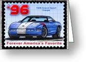 Corvette Gift Drawings Greeting Cards - 1996 Grand Sport Corvette Greeting Card by K Scott Teeters