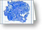 Corvette Gift Drawings Greeting Cards - 1997 - 2004 LS1 Corvette Engine Blueprint Greeting Card by K Scott Teeters