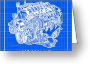 Corvette Gift Drawings Greeting Cards - 1997 - 2004 LS1 Corvette Engine Reverse Blueprint Greeting Card by K Scott Teeters