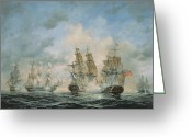 Engagement Painting Greeting Cards - 19th Century Naval Engagement in Home Waters Greeting Card by Richard Willis