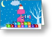 Christmas Blocks Greeting Cards - 1st Christmas Greeting Card by Brenden Howard