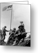 Flag Raising Greeting Cards - 1st Flag Raising On Iwo Jima  Greeting Card by War Is Hell Store