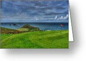 Golf Club Greeting Cards - 1st green Cape Cornwall Golf Club Greeting Card by Chris Thaxter