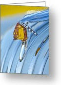 Professional Greeting Cards - 1948 Pontiac Chief Hood Ornament Greeting Card by Jill Reger