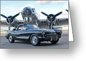 1957 Corvette Greeting Cards - 1957 Chevrolet Corvette Greeting Card by Jill Reger
