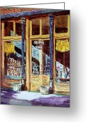 Store Fronts Greeting Cards - 5 OClock on Pecan St. Greeting Card by Ron Stephens