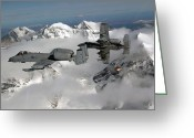 Us Air Force Greeting Cards - A-10 Thunderbolt Iis Fly Greeting Card by Stocktrek Images