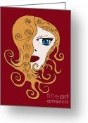 Swirls Drawings Greeting Cards - A Woman Greeting Card by Frank Tschakert