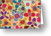 Cheery Greeting Cards - Abstract Blooms Greeting Card by Karla Gerard