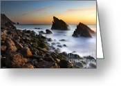 Pebbles Greeting Cards - Adraga Beach Greeting Card by Carlos Caetano