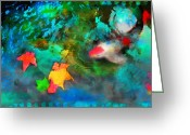 Koi Ponds Greeting Cards - After the storm Greeting Card by Gina Signore