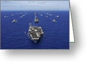 Aircraft Carrier Greeting Cards - Aircraft Carrier Uss Ronald Reagan Greeting Card by Stocktrek Images