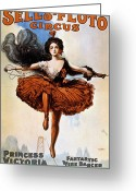 Tightrope Greeting Cards - American Circus Poster Greeting Card by Granger
