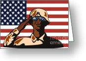 Head-shot Greeting Cards - American soldier saluting flag Greeting Card by Aloysius Patrimonio