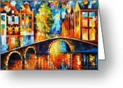Afremov Greeting Cards - Amsterdam Greeting Card by Leonid Afremov