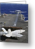 Aircraft Carrier Greeting Cards - An E-2c Hawkeye Launches Greeting Card by Stocktrek Images