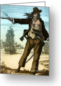 Piracy Greeting Cards - Anne Bonny, 18th Century Pirate Greeting Card by Photo Researchers