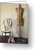 Figurine Greeting Cards - Antique dress form and chair with vintage feeling Greeting Card by Sandra Cunningham