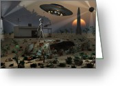 Bizarre Digital Art Greeting Cards - Artists Concept Of A Science Fiction Greeting Card by Mark Stevenson